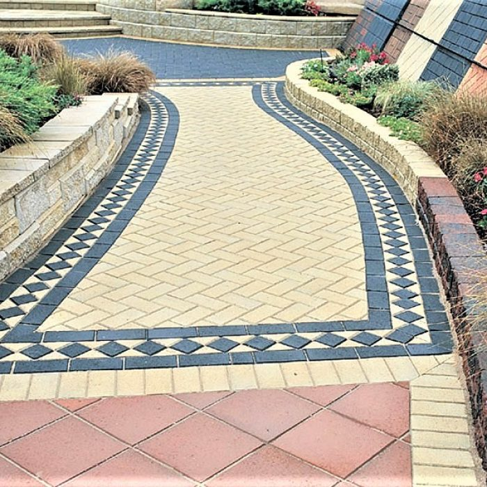 CEMENT BOND PAVERS IN A 45 DEGREE HERRINGBONE PATTERN