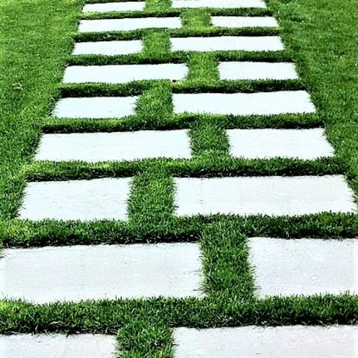 FLAGSTONE SLABS WITH GRASS INBETWEEN